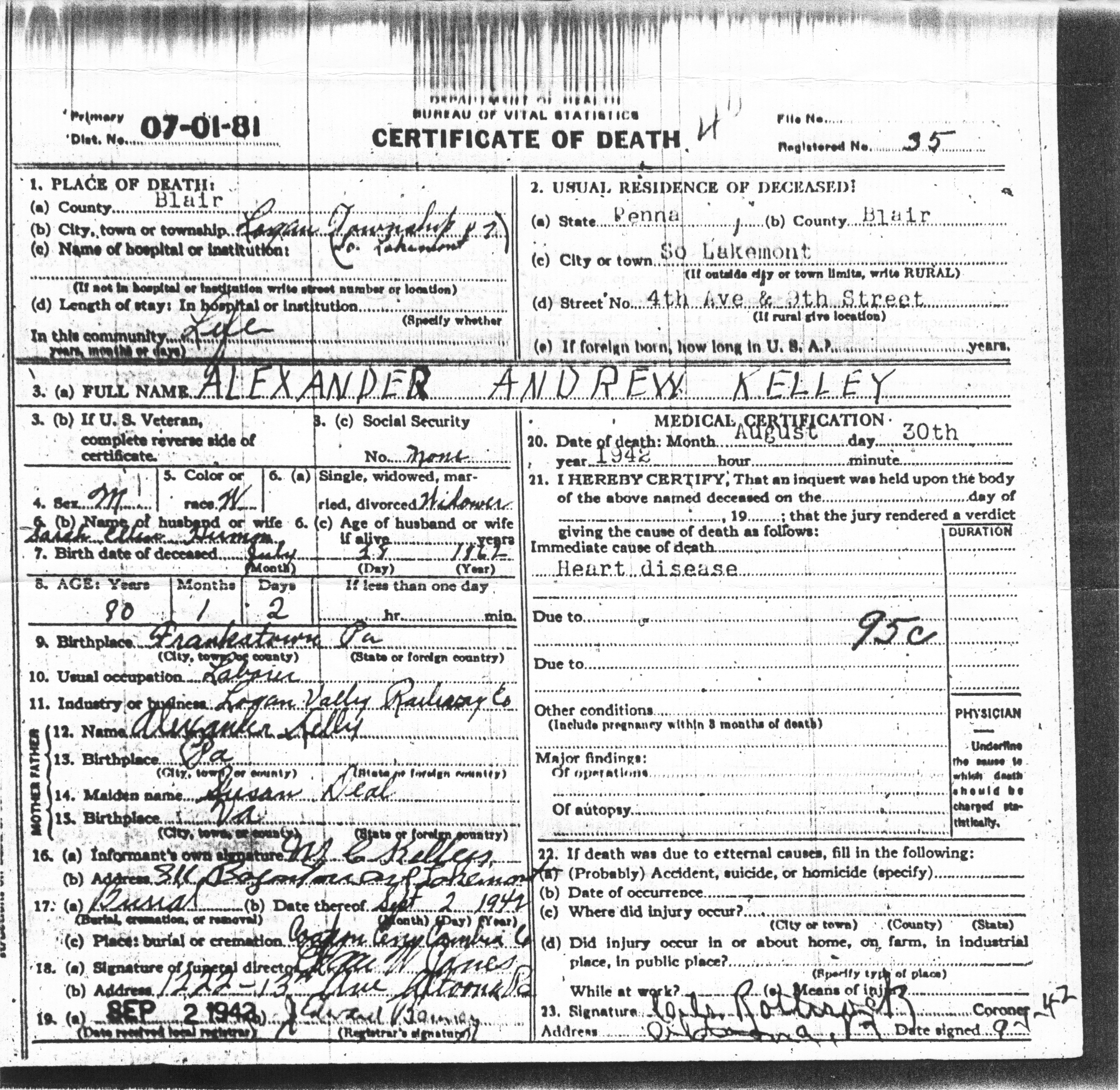 Death certificates the guthrie mccoy misson showalter families alexander andrew kelley dc xflitez Images