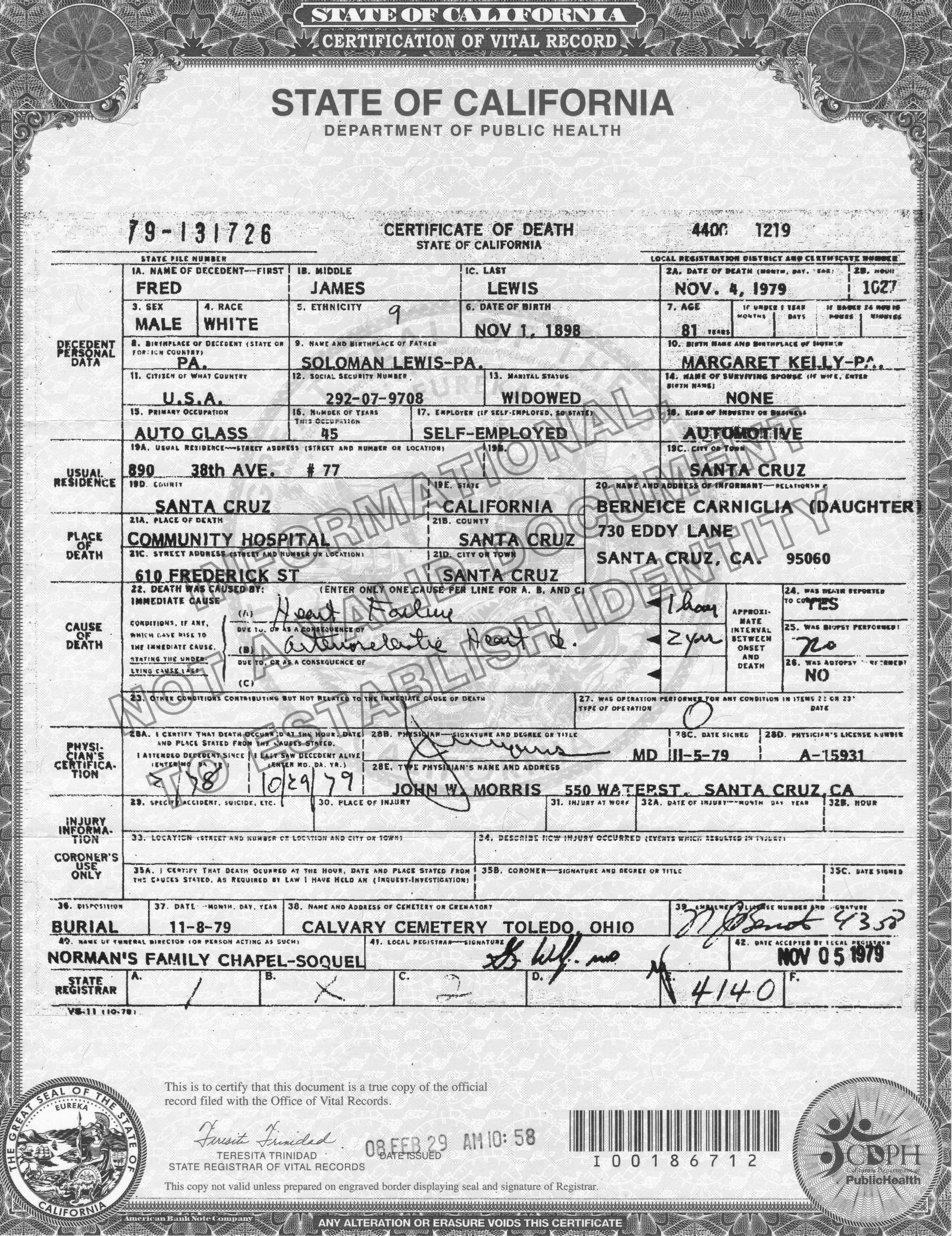 Death Certificates The Guthrie Mccoy Misson Showalter Families